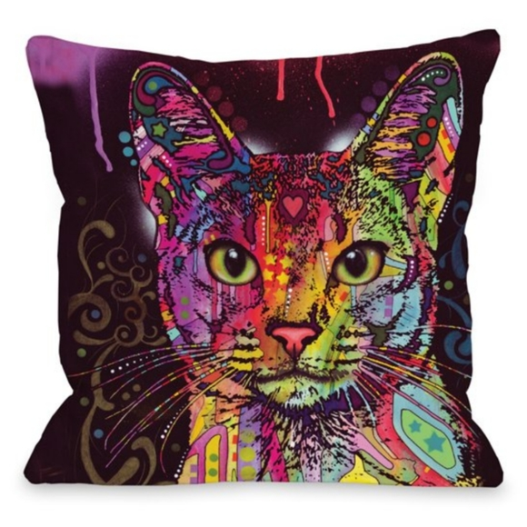 Neon Colored Cat Throw Pillow